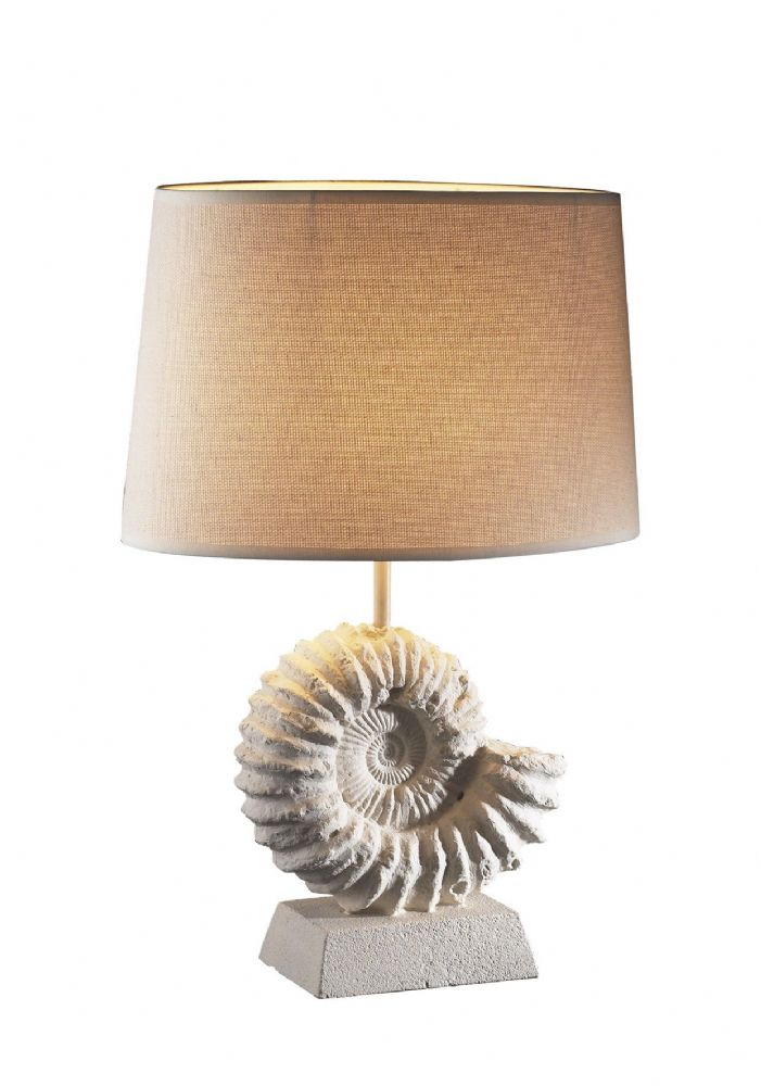 Ammonite Table Lamp Stone Effect complete with Shade S190 AMM4334